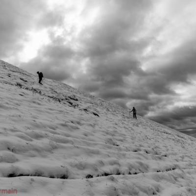 Première neige sur le pic de l'Aiblette en venant du col de Vassieux